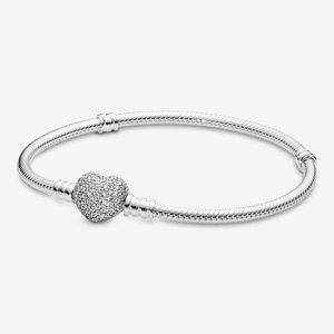 PANDORA Moments Pave Heart Clasp Charm Chain